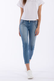 (WRUP5RS014-J4B)DENIM-FRONT WR.UP® PANTS WITH STUDS AND FRINGE