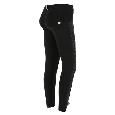 (WRUP5RS903-N) BLACK ANKLE-LENGTH REGULAR-WAIST BLACK WR.UP® PANTS WITH A LATERAL SLIT