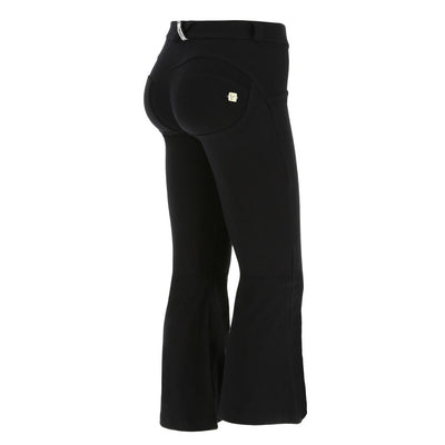 (WRUP5RS907-N) FLARED ANKLE-LENGTH REGULAR-WAIST WR.UP® BLACK PANTS