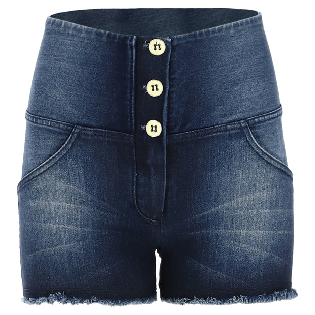 (WRUP9HS134-J0B)HIGH WAIST WR.UP® JEAN SHORTS WITH A FRAYED HEM