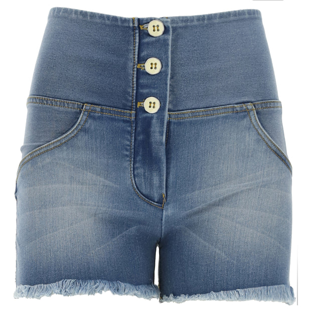 (WRUP9HS134-J4Y)HIGH WAIST WR.UP® JEAN SHORTS WITH A FRAYED HEM