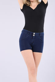 (WRUP9RC002-J0B)WR.UP® REGULAR-WAIST SHORTS IN DENIM-EFFECT JERSEY