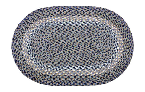"Blue/Natural 20""x30"" Oval Braided Jute Rug 02-005"