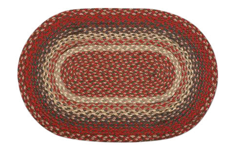 "Burgundy/Multi 20""x30"" Oval Braided Jute Rug 02-012"