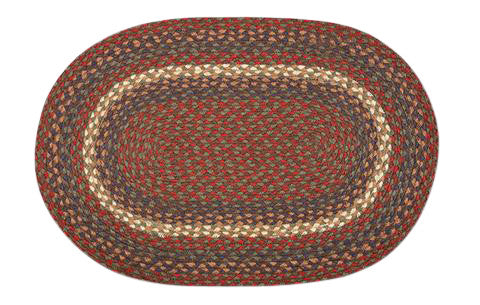 "Burgundy/Gray 20""x30"" Oval Braided Jute Rug 02-040"