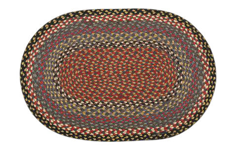"Burgundy/Blue/Gray 20""x30"" Oval Braided Jute Rug 02-043"