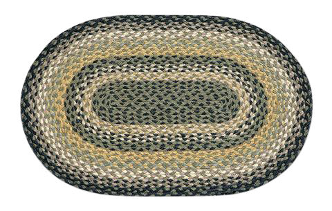 "Black/Mustard/Cream 20""x30"" Oval Braided Jute Rug 02-116"