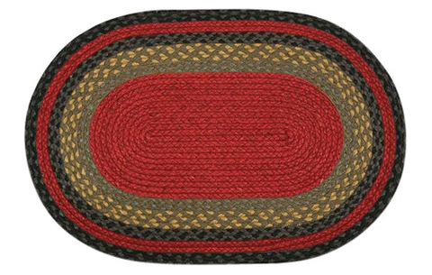 "Burgundy/Olive/Charcoal 20""x30"" Oval Braided Jute Rug 02-238"