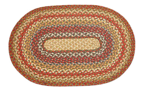 "Honey/Vanilla/Ginger 20""x30"" Oval Braided Jute Rug 02-300"