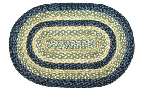 "Breezy Blue/Taupe/Ivory 20""x30"" Oval Braided Jute Rug 02-362"