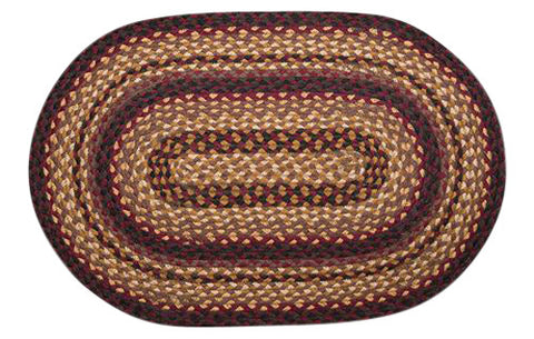 "Black Cherry/Chocolate/Cream 20""x30"" Oval Braided Jute Rug 02-371"