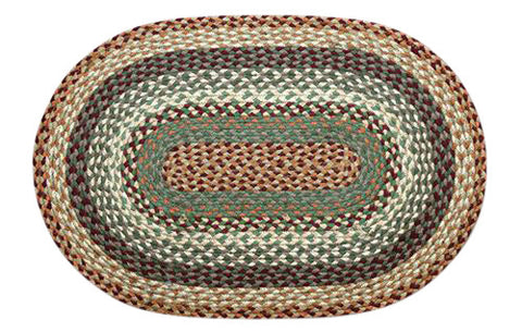 "Buttermilk/Cranberry 20""x30"" Oval Braided Jute Rug 02-413"