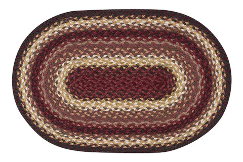 "Claret 20""x30"" Oval Braided Jute Rug 02-780"