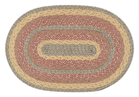 "Rose Gold 20""x30"" Oval Braided Jute Rug 02-9-112"