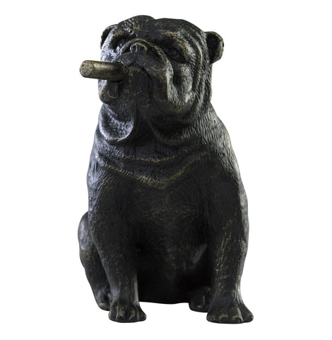 Bulldog Smoking Mini Sculpture in Old World Finish