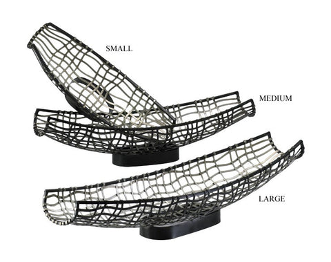 Canoe Silver-Bronze Tray-Style Iron Basket in 2 Sizes