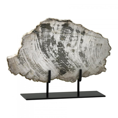"Petrified Wood on Iron Stand 12.25"" height x 15.25"" width x 4.5"" depth"