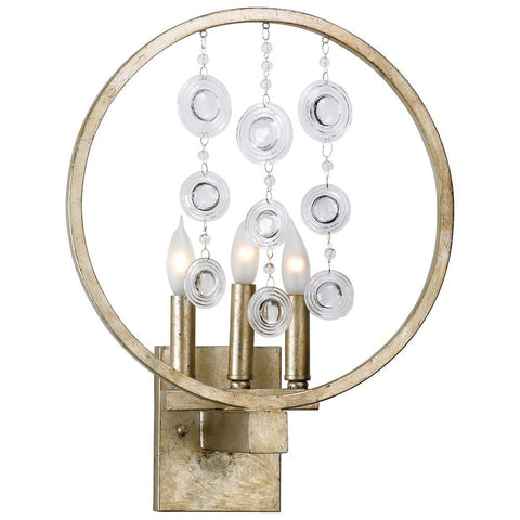 Emilia 3-Light Wall Sconce in Silver Leaf Finish with Glass Accents