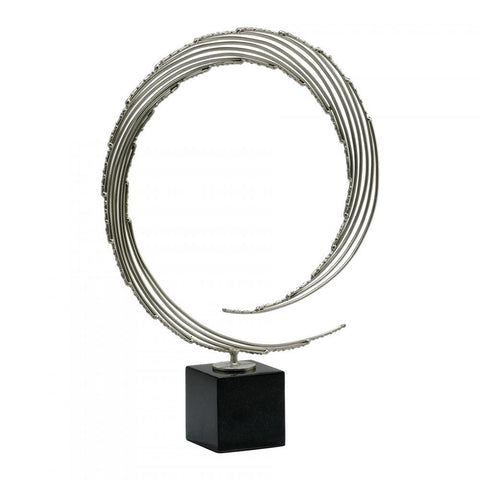Centurian Circle Iron Sculpture with Nickel Finish on Black Marble Base