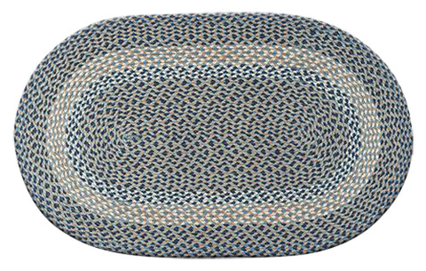 "Blue/Natural 27""x45"" Oval Braided Jute Rug 03-005"