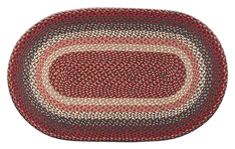 "Burgundy 27""x45"" Oval Braided Jute Rug 03-012"