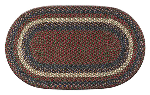 "Burgundy/Gray 27""x45"" Oval Braided Jute Rug 03-040"