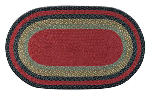 "Burgundy/Olive/Charcoal 27""x45"" Oval Braided Jute Rug 03-238"