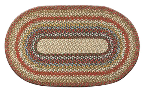 "Honey/Vanilla/Ginger 27""x45"" Oval Braided Jute Rug 03-300"