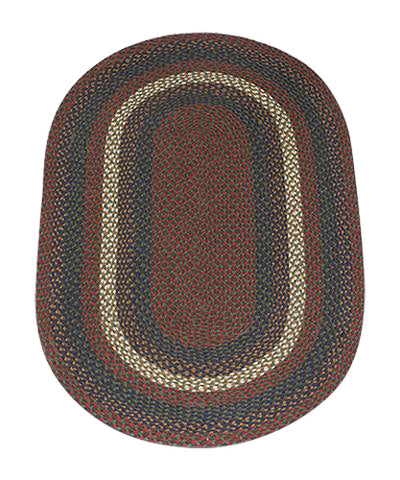 Burgundy/Gray 3'x5' Oval Braided Jute Rug 04-040