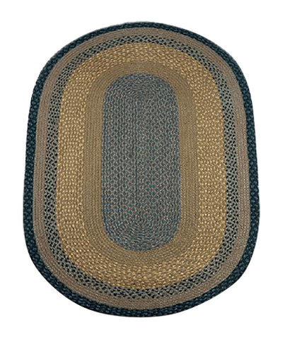 Brown/Black/Charcoal 3'x5' Oval Braided Jute Rug 04-099
