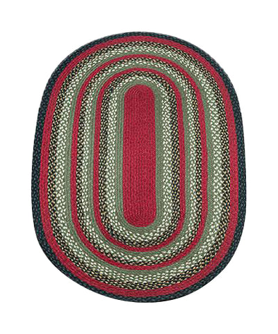 Burgundy/Olive/Charcoal 3'x5' Oval Braided Jute Rug 04-338