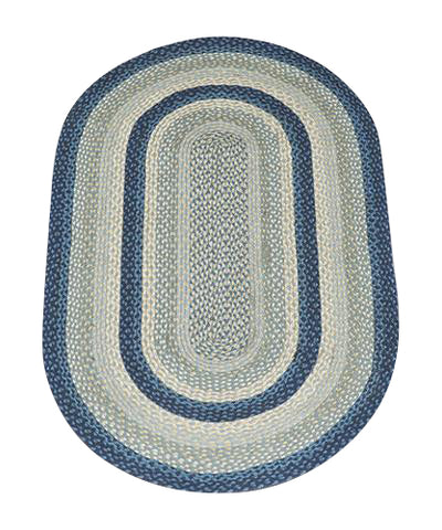 Breezy Blue/Taupe/Ivory 3'x5' Oval Braided Jute Rug 04-362