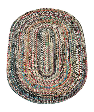Random 3'x5' Oval Braided Jute Rug 04-999