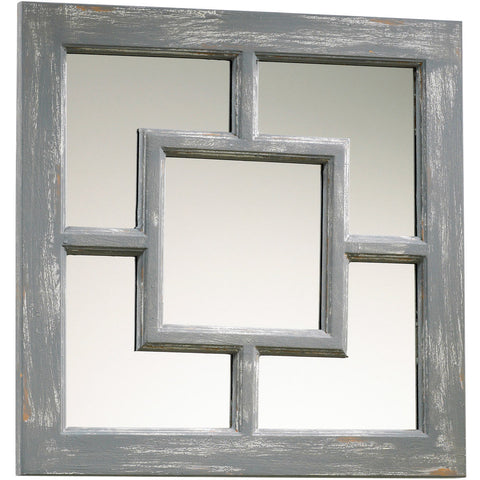 Ashbury Wood Wall Mirror in Distressed Gray
