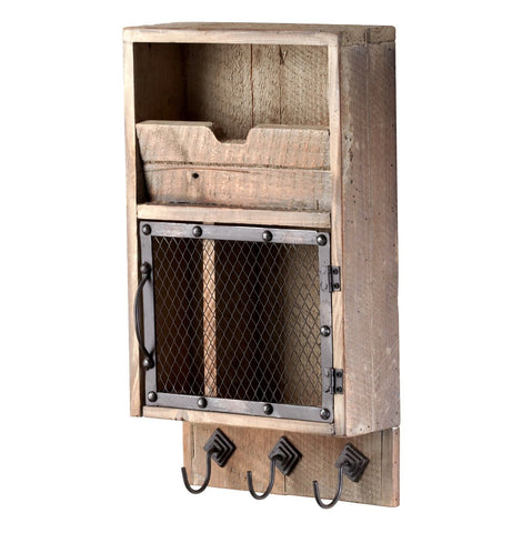 Crate-Style Wall Organizer with 3 Hanging Hooks