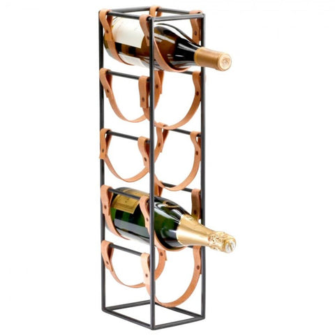 "Wine Rack with Leather Straps 21""H x 4.5""W x 6.25""D"