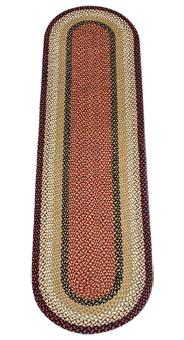 Burgundy/Mustard 2'x8' Oval Braided Jute Rug Runner 05-019