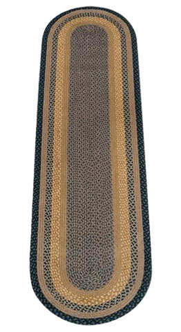 Brown/Black/Charcoal 2'x8' Oval Braided Jute Rug Runner 05-099