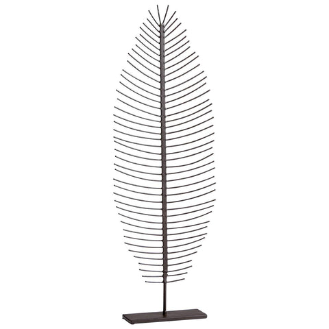 "Skeleton Leaf Iron Sculpture with Graphite Finish 32.25""H"