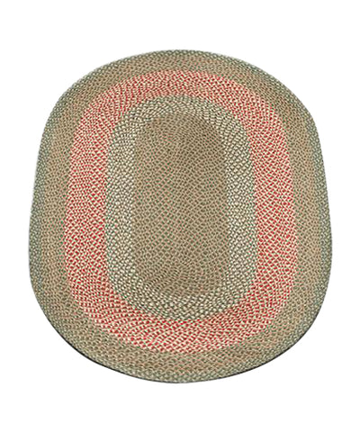 Green/Burgundy 4'x6' Oval Braided Jute Rug 06-009