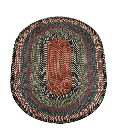 Burgundy/Blue/Gray 4'x6' Oval Braided Jute Rug 06-043