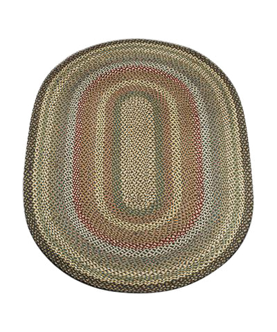Fir/Ivory 4'x6' Oval Braided Jute Rug 06-051