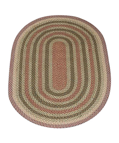 Olive/Burgundy/Gray 4'x6' Oval Braided Jute Rug 06-324