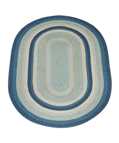 Breezy Blue/Taupe/Ivory 4'x6' Oval Braided Jute Rug 06-362