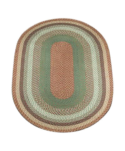 Buttermilk/Cranberry 4'x6' Oval Braided Jute Rug 06-413