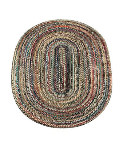 Random 4'x6' Oval Braided Jute Rug 06-999
