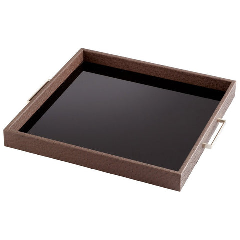 Faux Ostrich Skin and Black Glass Serving Tray