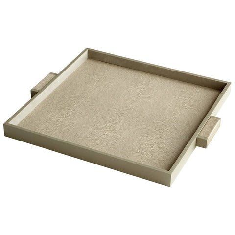 Brooklyn Wood and Faux Leather Square Tray, Available in 2 Sizes