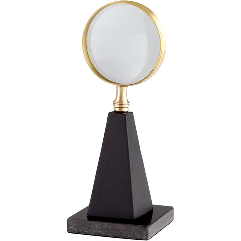 "Magnifying Glass Sculpture on Granite Base 10.75""H"