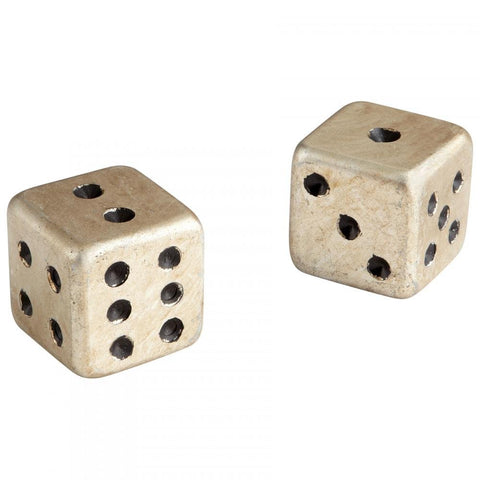 Iron Dice Set of 2 with Silver Leaf Finish